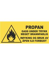 "Label  ""GASS UNDER TRYKK"""